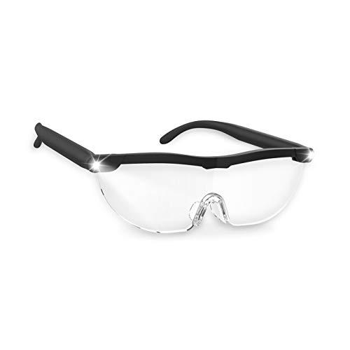 MAXXMEE Vergrößerungsbrille LED - schwarz   Leicht und komfortabel   Mit LED-Licht: gute Sicht auch bei schlechtem Licht, Zusätzlich mit Blaufilter   Einfach per USB-Kabel (inkl.) aufladbar [schwarz]