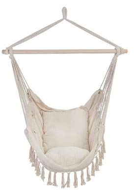 N&M Products Patio Watcher Hammock Chair Hanging Rope Swing Seat with 2 Cushions and Hardware Kits, Perfect for Indoor, Outdoor, Home, Bedroom, Patio, Yard?Deck, Garden