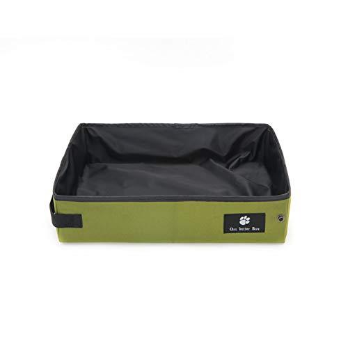 OMEM Caja de Arena Portátil Plegable para Viajes en Seco y Húmedo para Gatos Impermeable y Plegable, Fácil de Llevar para Viajes (Grande, Verde)