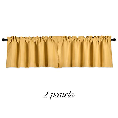 DONREN Gold Yellow Curtain Valances for Living Room - Blackout Rod Pocket Valances for Small Window (42 by 12 Inch,2 Panels)