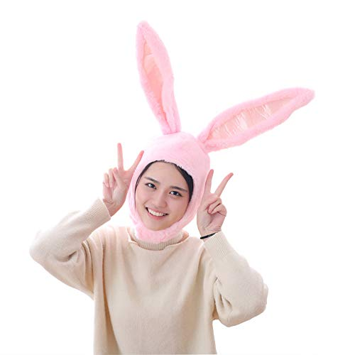 Cuteboom Girl Rabbit Hat Eastern Bunny Hat Bunny Ears Cap Funny Party Holiday Hat Cute Costume for Men and Women(Pink)