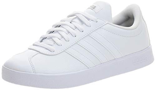 Adidas VL Court 2.0, Sneaker Mujer, Footwear White/Footwear White/Cyber Metallic, 38 EU