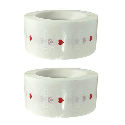 ABOOFAN - Lote de 2 rollos de pegatinas de agradecimiento, diseño de...