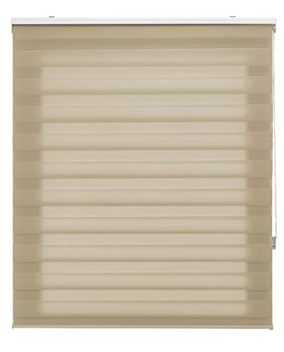 Blindecor LIRA - Estor enrollable de doble capa Noche y Día, Beige, 100 x 180 cm, ancho x largo