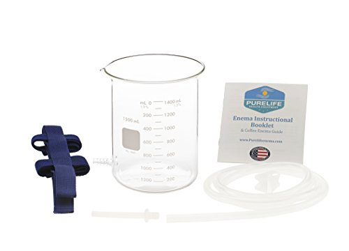 Purelife Glass Enema Kit- 1.5 Qt - Non Toxic -100% Glass Glass Hose Connector - No Plastic Parts - Perfect Coffee Enema Kit - Gerson Therapy - Wheatgrass Enema - Colon Cleanse at Home
