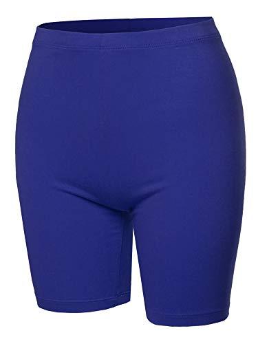 A2Y Basic Solid Cotton Mid Thigh High Rise Biker Bermuda Shorts Mid Navy L
