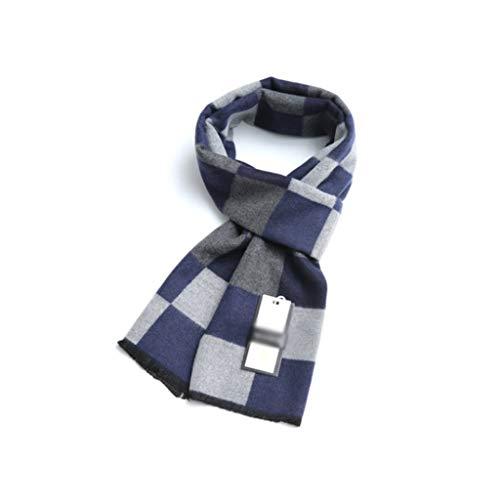 WPBOY Schal für Herren, groß, Herbst/Winter, weich, modisch, dick, kariert, tolles Geschenk für Familie und Freunde, modischer Schal (Farbe: Blaues Gitter)