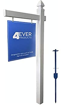 4Ever Products Vinyl PVC Real Estate Sign Post - White - 6  Tall Post