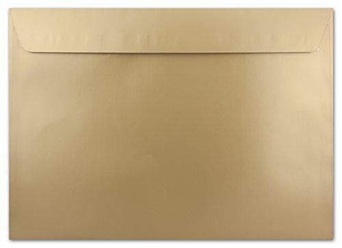 15x C4 Umschläge, Gold - METALLIC mit Glanz Effekt, sehr schwere und Starke Qualität - sehr Stabil - Fast knitterfrei - 130 g/m², 229 x 324 mm, Haftklebung