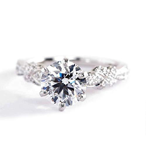 Anillo de compromiso de platino con diamante redondo brillante SI2 D Art Deco de 1,9 quilates