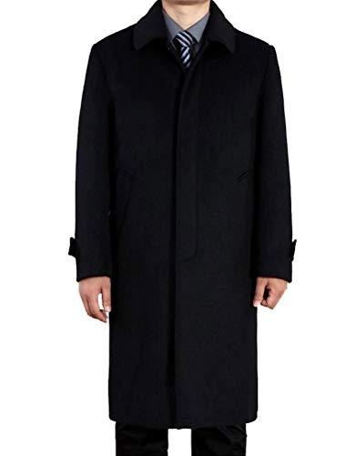 Vogstyle Uomo Nuovo Cappotto Trench Monopetto Slim Fit Windbreaker Giacca Lunga Outwear Stile 1-Nero XXL