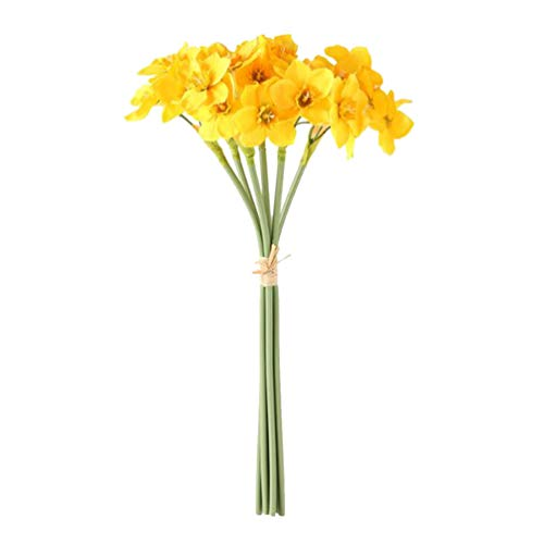 IMIKEYA Artificial Daffodil Flowers Arrangements Fake Flowers Artifical Plant Table Centerpieces Photography Props for Wedding Party Baby Shower Decoration (Yellow)