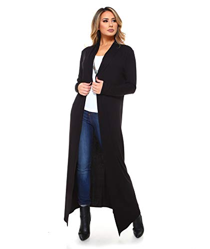 Isaac Liev Women's Super Long Flowy Floor Length Cardigan Duster (X-Large, Black)