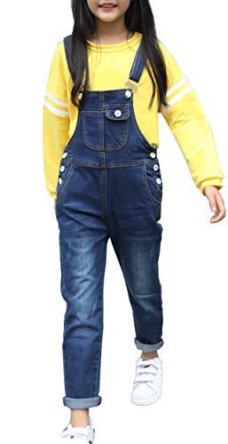 Sitmptol Girls Big Kid Distressed Bib Overalls Blue BF Style Cuffed Denim Long Jeans 1P (Dark Blue Style, 10-11 Years)