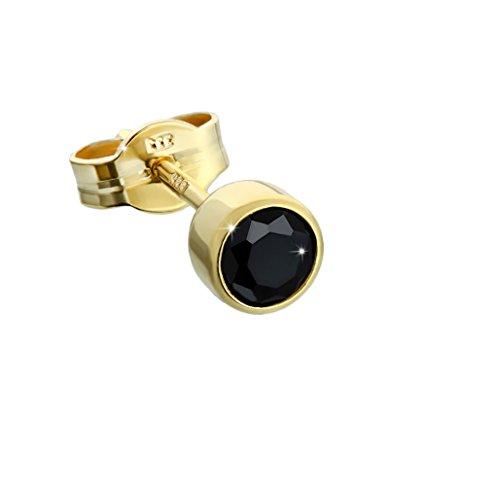 NKlaus Einzel Ohrstecker Gold 333er 8 Karat 4,50mm schwarz Zirkonia Damen Herren Kinder 6607