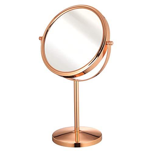 LBSC Dubbelzijdige Make-up Spiegel 1X&5X,8 inch Vrijstaande Vanity Tafelblad Spiegel Make-up Toepassing met Afneembare en 360 graden Rotatie (Rose goud)