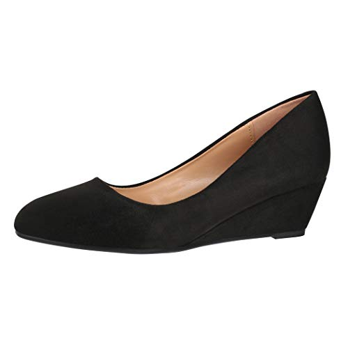 Elara Keilpumps Wedges Damen Pumps mit Keilabsatz Schuhe 1800 Black-39