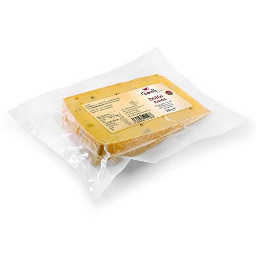 Die Trüffelmanufaktur - Feinkost Trüffelkäse Anton, Schnittkäse mit 3% echtem schwarzem Trüffel, mild nussiger Allgäuer Heumilchkäse für Feinschmecker und Gourmets, Käse-Packung á 200 g