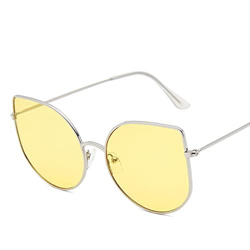 Moda Gafas De Sol De Ojo De Gato para Mujer, Diseñador De Marca De Moda Sexy para Hombre, Gafas Retro con Montura De Metal, Gafas De Sol para Mujer, Plateado, Amarillo