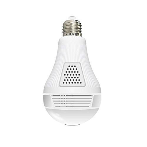 Cámara IP, cámara con bombilla LED, cámara panorámica ojo de pez 960P, conexión inalámbrica Wi-Fi P2P, vigilancia e intercomunicador en tiempo real, detección de movimiento, sistema de seguridad para el hogar.