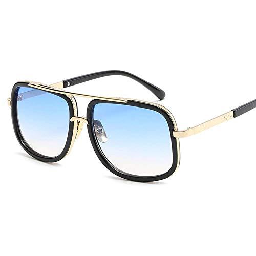 Z&HA Zonnebril voor heren en vrouwen Retro groot frame platte spiegel gouden rand Anti UV Anti Glare rijden reizen bril