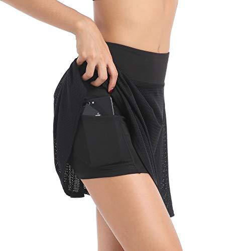 EAST HONG Damen Hochtaille Sport Golf Skort Active Tennis Röcke mit Innenshorts, Schwarzes Mesh, Größe S