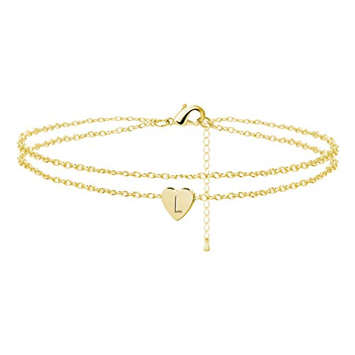 Dcfywl731 Heart Initial Ankle Bracelets for Women,Handmade Dainty Layered Anklet 26 Letter Initial Anklets Gold Anklets Bracelets for Girls Beach Foot Jewelry Gifts (Love)