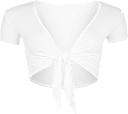 WearAll New Ladies Tie Up Crop Top Womens Short Sleeve Stretch Open Top White 8/10