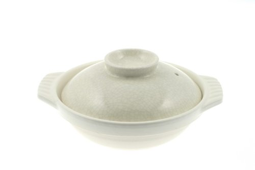 Ivory and Black Crackle 8-1/2-Inch Donabe Japanese Hot Pot, Serves 2 People