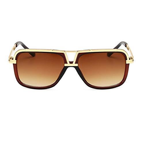 Gafas de sol vintage para mujer y hombre, forma cuadrada, espejo, a la moda, para hombre, gafas de sol para mujer, color marrón