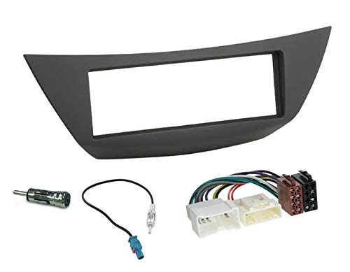 Sound-Way Kit Montage Autoradio, Marco 1 DIN Radio de Coche, Adaptador Antena, Cable Adaptador Conector ISO, Compatible con Renault Laguna 2007-2015