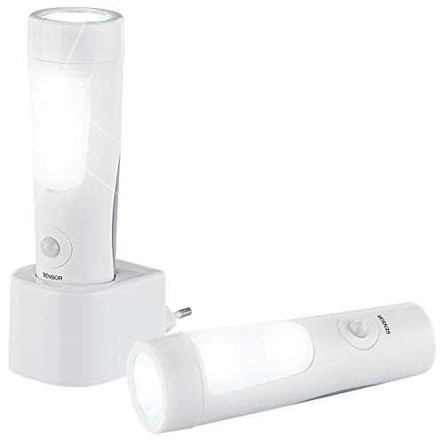 Lunartec Notlicht: 2er-Set Nacht- & Hand-Leuchten mit Akku, Dämmerungs- & Bewegungssensor (Notlampe)