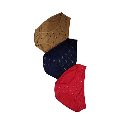Body Safe Women's Printed Cotton Regular Panties Size_Large _Red ,Gold & Navy Blue (Pack of 3 )