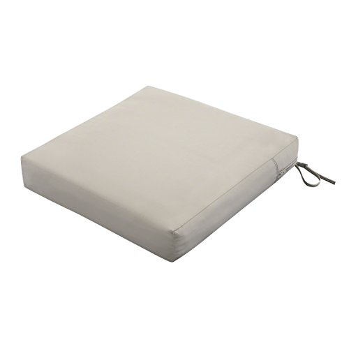 Classic Accessories Ravenna Water-Resistant 25 x 25 x 5 Inch Square Patio Seat Cushion Slip Cover & Foam, Mushroom