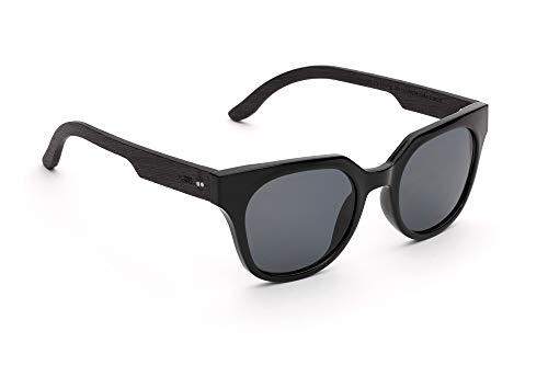 TAKE A SHOT – Cateye Stil, Holz-Sonnenbrille Damen, Holz-Bügel, Kunststoff-Rahmen, UV400 Schutz, rückentspiegelte Gläser, Audrey