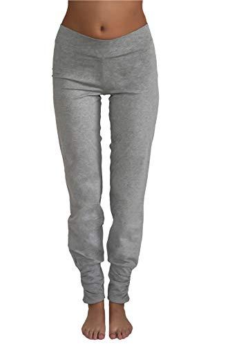 ALBERO Damen Yogahose Hose Bio-Baumwolle GOTS Freizeithose Sporthose Pilates (M, hellgrau)