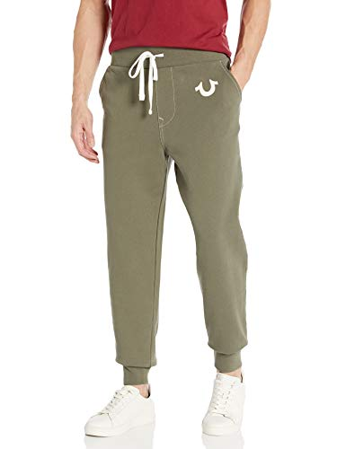True Religion Men's Classic Logo Slim Fit Jogger Sweatpant, Militant Green, XX-Large