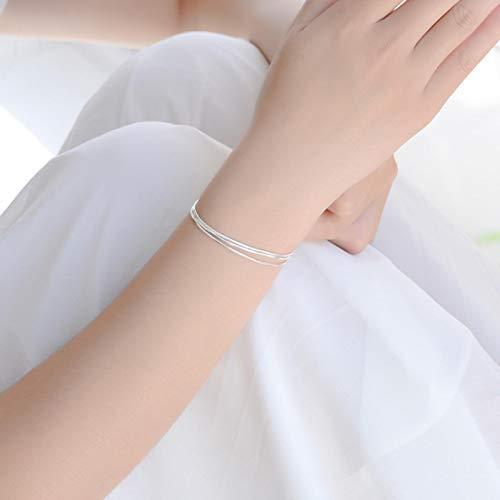 WDam Europa y América Venden Bien Pulsera de Cadena de Serpiente de Triple Capa de Plata esterlina para Mujeres, Regalos de Moda, Pulsera