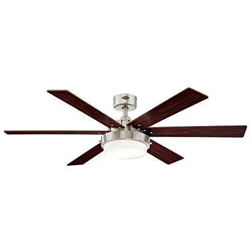 """Westinghouse Lighting 7205100 Alloy II inch Indoor Ceiling Fan, LED Light Kit with Opal Frosted Glass, 52"""" Brushed Nickel"""