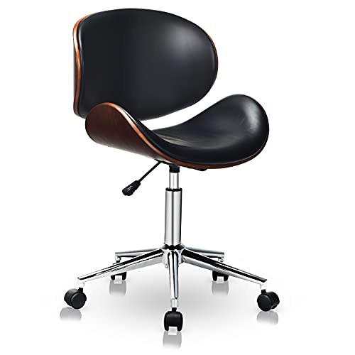 C-CHAIN Adjustable Modern Mid-Century Office Chair with Curved Seat/Back, Swivel Executive Chair, Rolling Computer Chair, Bent Wooden Accent Office Chair for Home and Office