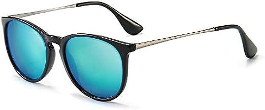 SUNGAIT Vintage Round Sunglasses for Women Classic Retro Designer Style Black Frame(Glossy Finish) /Blue Lens 1567 LHKLA