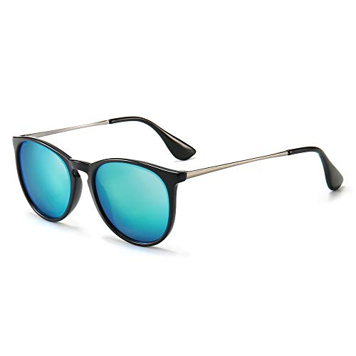 SUNGAIT Gafas de Sol Mujer Hombre Retro Redondas Unisex UV400 Proteccion(Marco Negro/Lentes Azules)-SGT567
