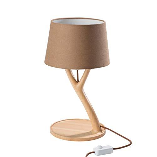 ZHZHUANG Lámpara de Mesa Moderna Minimalista Lámpara de Mesa de Madera, Lámpara de Mesa de Madera Decorativa Nórdica, Lámpara de Decoración de Dormitorio Natural Simple Luz de Escritorio Led,K