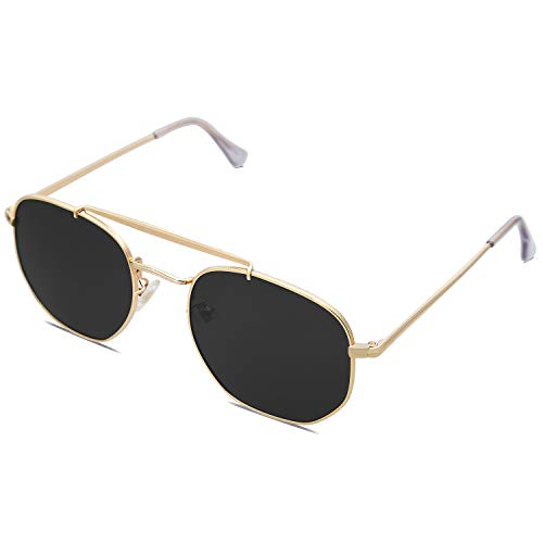 SOJOS Classic Polarized Square Sunglasses for Men and Women Mirrored Lens COLONEL SJ1122 with Gold Frame/Grey Lens