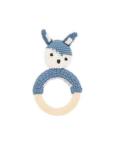 Häkel-Rassel, Siggy das Kaninchen auf Holzring, royal Blue