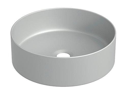 STARBATH PLUS Keramik Aufsatzwaschbecken Rund Waschschale Handwaschbecken SFINCIL 35 x 35 x 12 cm (Grau)