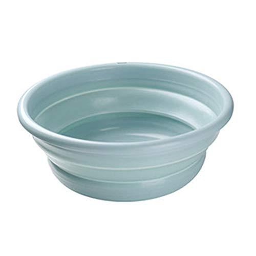 "Jkhome Collapsible Wash Basin Tub Folding Round Dishpan Washing Basin - BPA Free, Saving Space (Blue, L - D13.98"" x H5.31"")"