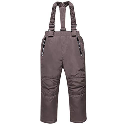 Skibroek, kinderen, tuinbroek voor jongens, meisjes, sneeuwbroek van dons, sneeuwbestendig, twee zakken, afneembare schouderriemen, versterkte knie, enkelopening, 3 - 8 jaar 110 / 3-4 ans (90-150cm) Bruin