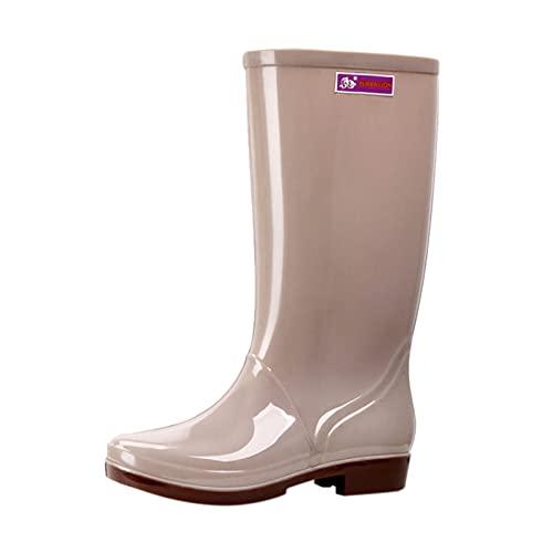 FNKDOR Outdoor Gummistiefel Damen Langschaft Weitschaft Wasserdicht rutschfest Regenstiefel mit Absatz Khaki 39