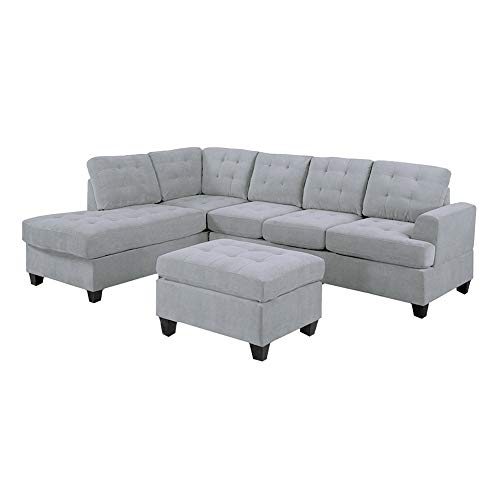 Casa Andrea Milano LLC 3 Piece Modern Reversible Sectional Sofa Couch with Chaise and Ottoman, Ash